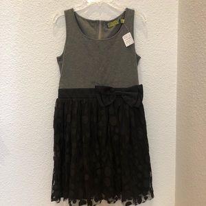 Black & Grey Polka Dot Dress with Bow